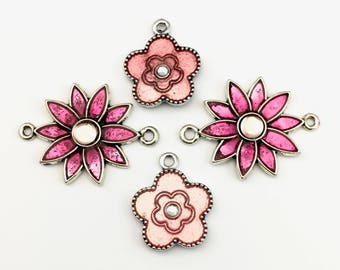 4 flower connector and enamel pendants with glass cabochons ,25mm to 37mm,PEN 183