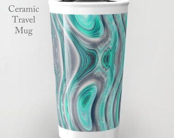 Ceramic Travel Mug-Teal Travel Mug-Coffee Tumbler-Ceramic Mug-12 oz Mug-To Go Mug-Insulated Coffee Mug-Insulated Travel Mug-Abstract Print