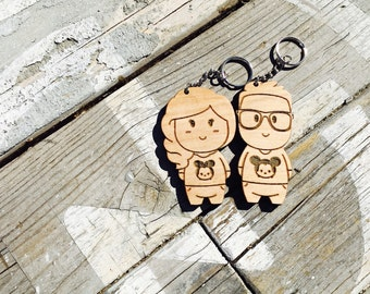 Personalized Wood Engraved Character Keychains (2 Pairs) - Kawaii Cute Anniversary Gift Wedding Key Chain Ring
