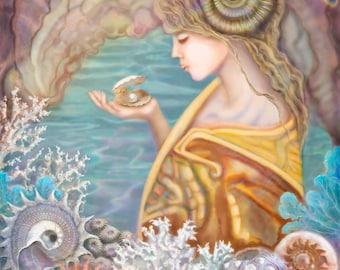 Original Painting, Tropical, Archival Print, Decor, Woman, Sea Shells, Ocean, Pearl, Coral
