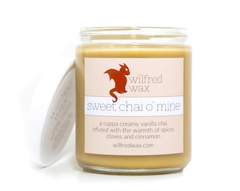 Sweet Chai O' Mine: Vanilla Chai Scented Soy Candle (Chai Tea, Vanilla, Cloves, Cinnamon) by Wilfred Wax