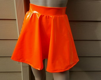 Neon Orange Vinyl PVC Spandex Skater Skirt