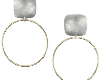 Rounded Square with Large Hoop Clip on Earring