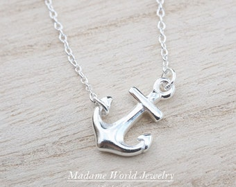Sterling Silver Sideways Anchor Necklace, Nautical Theme Jewelry