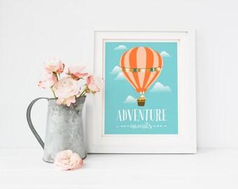 Printable Adventure Awaits Nursery Hot Air Balloon Art