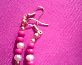 Earrings red and Pearly series Alix N 8