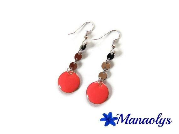 Pink earrings, enamel, enameled charms 3287