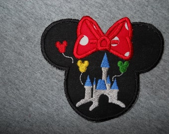 Made to order ~ Miss Mouse /Castle on or sew on applique Patch