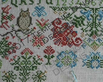 Wildflower Woodland Quaker Mystery SAL -  Quaker/wildflowers, woodland creatures owl/deer/rabbit flowers/ Cross-stitch/ Counted-thread