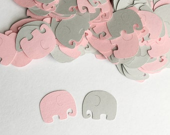 Elephant Baby Shower Decoration -  Elephant Confetti - Pink and Gray Baby Shower Decorations