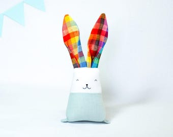 Rainbow bunny, kids bunny toy, fabric rabbit, cuddle toy for boy, heirloom toy, Easter gift, toddler nursery decor, action figure toy
