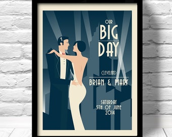 art deco wedding print, art deco wedding poster, Unique Wedding Gift, Art Deco Wedding, art deco print for wedding, our big day print