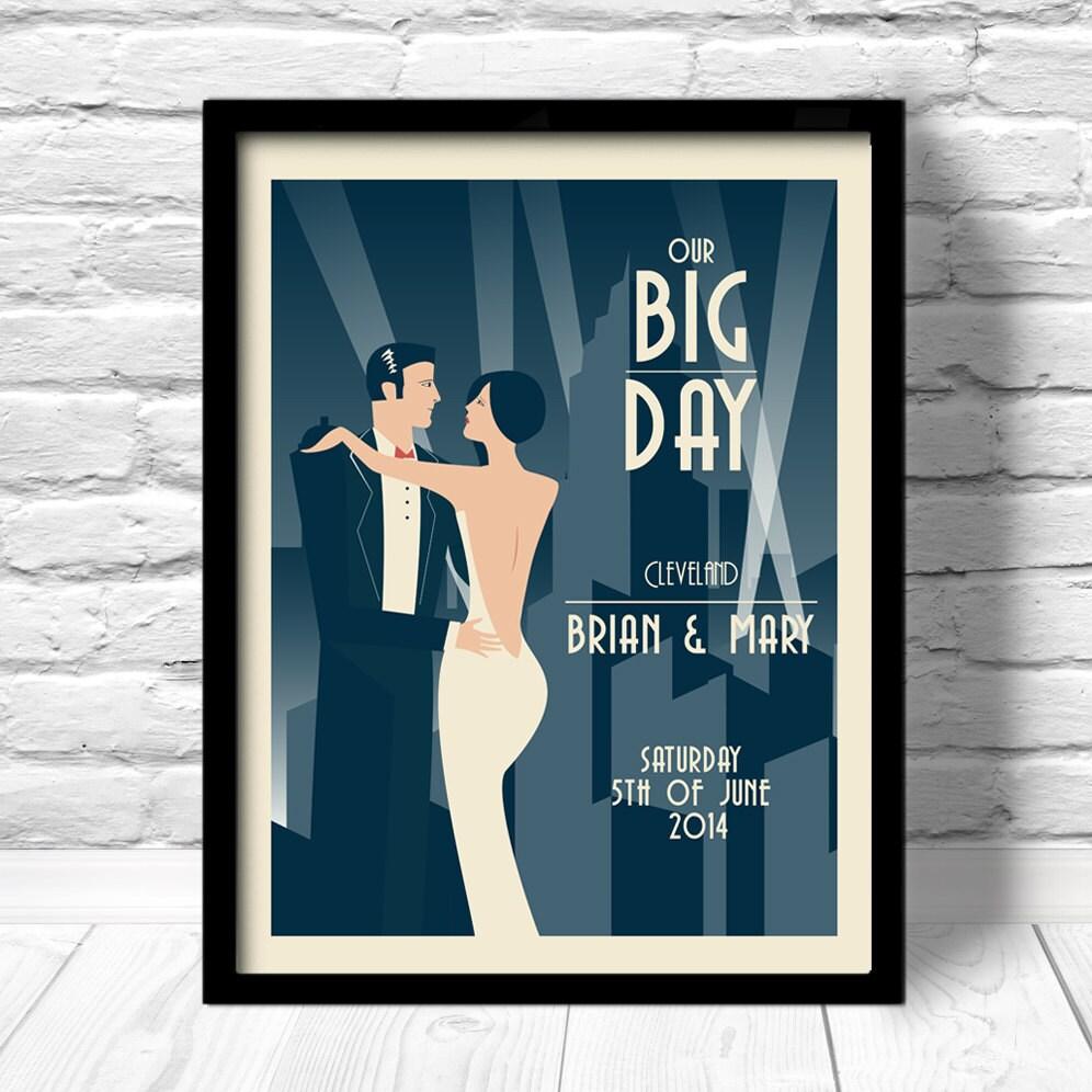 art deco wedding print art deco wedding poster unique. Black Bedroom Furniture Sets. Home Design Ideas