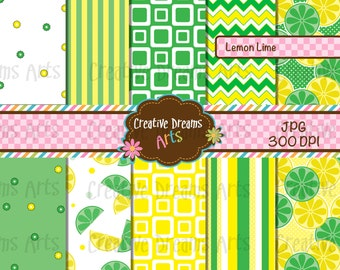 40% Off! Lemon Lime Paper Pack Instant Download