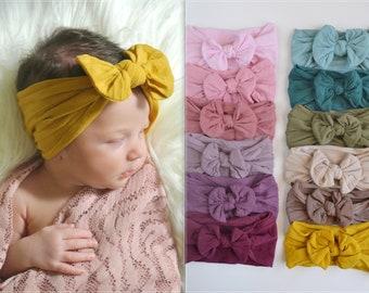 Nylon Baby Headbands, Stretch soft nylon head wraps, baby headband, newborn headbands, CLASSIC knot nylon head wrap