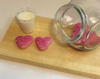 """Heart sugar cookies and milk For 18"""" dolls. Made from polymer clay and resin. So cute!"""