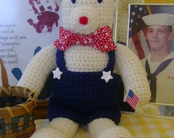 CROCHET PATTERN Bear Doll or Americana Home Decor Patriotic Libearty