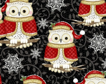 Studio E - Winter Greetings - Set Owls - Black - Fabric by the Yard 4216S-99