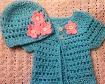 crochet sweater and hats set