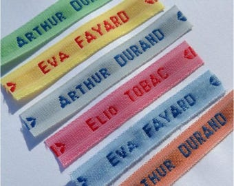 Lot tags woven name custom sewing color choice