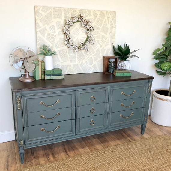 Green Hollywood Regency Dresser use as TV Credenza or Entryway Furniture - Long 9 Drawer Dresser from the Mid Century Real Wood Furniture