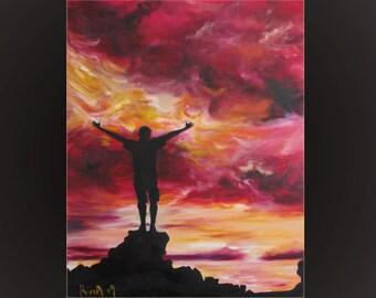 Big oil painting, original art piece, original oil on canvas, home or office decor