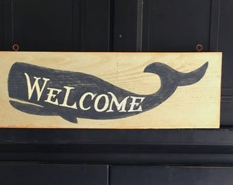 Welcome sign/whale sign/hand painted/rustic sign/nautical theme/beach house decor/coastal home decor/entryway sign/porch sign