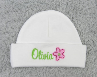Personalized baby girl hat with flower - micro preemie hat, newborn hat - baby shower gift, NICU clothes, baby name hat, preemie girl hat