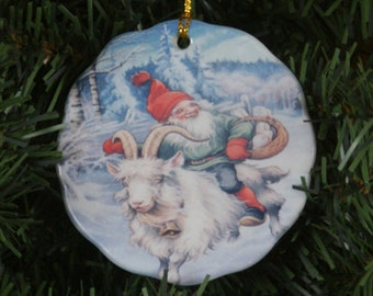 Ceramic Scalloped Edge Ornament - Swedish Tomte on Goat #181B