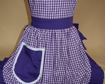 Retro Vintage 50s Style Full Apron / Pinny - Purple & White