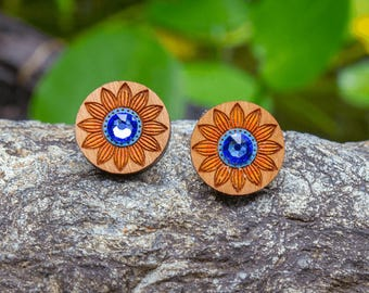 Cute Floral Earrings with Blue Rhinestone Gem - Hand painted designer wood studs - Australian timber jewellery