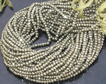 5 Strands,AAA Quality, PYRITE Micro Faceted Rondells,Super Quality Rondells,14 Inch Long strands,Great Offer Original Price Was from 75