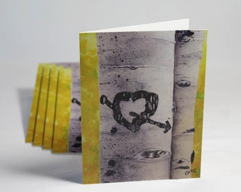 Aspen Trees Heart, Set of 5 Note Cards with Envelopes from Original Watercolor Painting