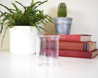 Bodum Glass Beaker / Short Succulent Planter / Small Round Vase / Home Decor / Science Jar / Nerdy Decor / Small Glass Pot / candle holder