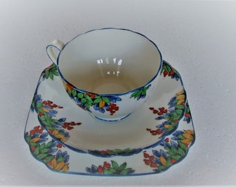 Art Deco New Chelsea Coraline Trio Cup Saucer and Side Plate very Pretty Hand Painted