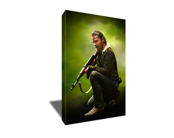FREE SHIPPING Walking Dead's Badass Rick Grimes Canvas Art