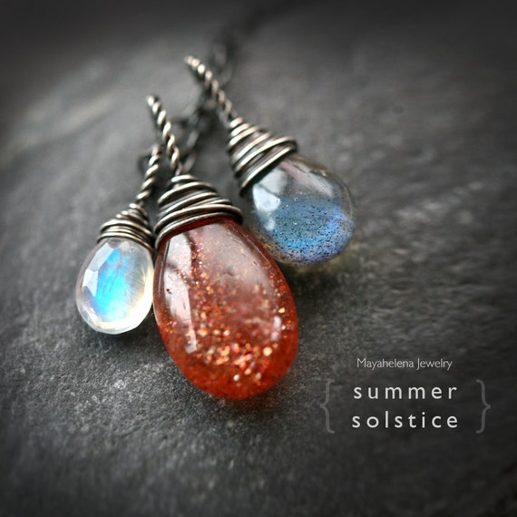 Summer Solstice  - Sunstone Labradorite and Moonstone Wire Wrapped Sterling Silver Necklace