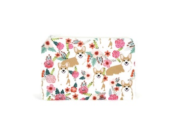 CHOOSE SIZE Corgis in the Garden Zipper Pouch / Corgi Gift / Welsh Corgi Camera Bag on Cream / Make Up or Coin Pouch