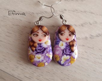 Earrings in the shape of matryoshka (nesting doll) lilac yellow tones