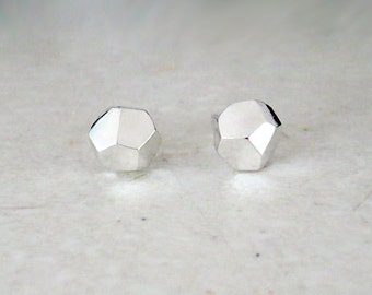 Rough faceted sterling silver stud earrings, handmade. Faceted silver studs. Handmade studs.