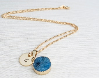 Gold Initial Necklace & Dark Blue Druzy, Druzy Necklace, Personalised Jewellery, Bridesmaid Necklace, Personalised Gift