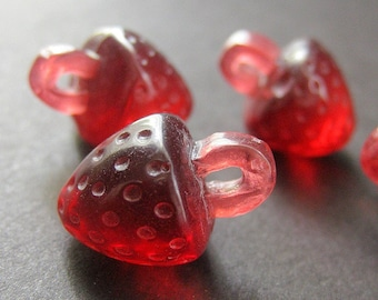 Four (4) Red Strawberry Buttons in Lucite Plastic.  21mm