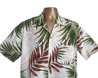 1940s Hawaiian shirt, tropical palm leaf, reproduction vintage shirt with collar loop, back pleats and front pocket.