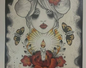 A3 Moths,candlelight, girl