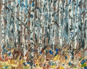 """Original Acrylic Abstract Birch Tree Painting on 20x20"""" Gallery Wrapped Canvas, Modern Wall Art Decor, Tree Art, Palette Knife Tree Forrest"""