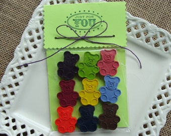 CRAYONS - My TEDDY BEAR - Crayon Set of 9 - Stocking Stuffer - Party Favor
