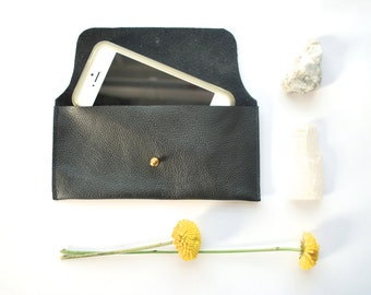 Black Leather Envelope Clutch / iPhone 6 Case / Sunglasses Sleeve