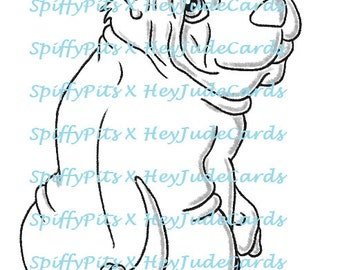 Digital Stamp or Coloring Page - Sharpei Dog Breed Stamp - A portion of every sale to RESCUES!!!