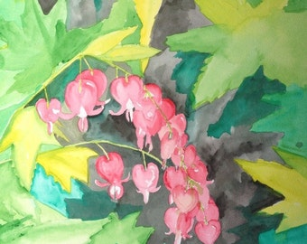 """BLEEDING HEARTS is a beautiful, colorful 16""""x20"""" watercolor painting"""