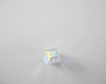 Bead 8 mm Swarovski Crystal cube-shaped, Crystal AB color.